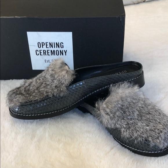 2f82213481a Open Ceremony loafer slides snakeskin rabbit fur